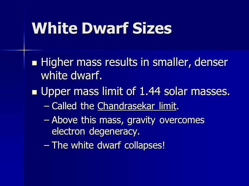 White Dwarf Sizes Higher mass results in smaller, denser white dwarf.