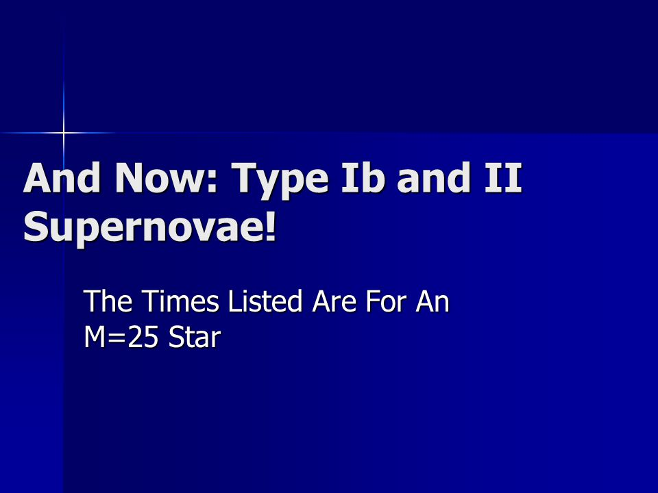 And Now: Type Ib and II Supernovae!