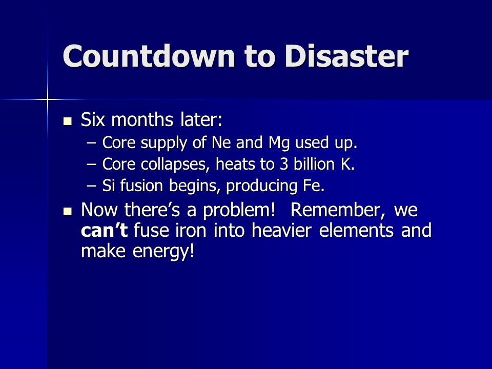 Countdown to Disaster Six months later: