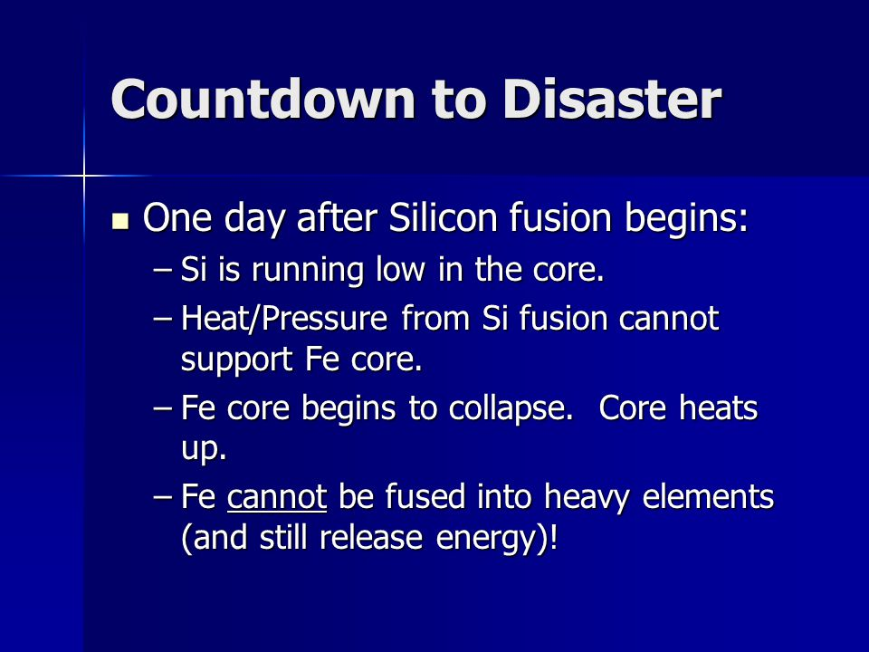 Countdown to Disaster One day after Silicon fusion begins: