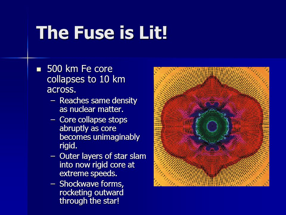 The Fuse is Lit! 500 km Fe core collapses to 10 km across.