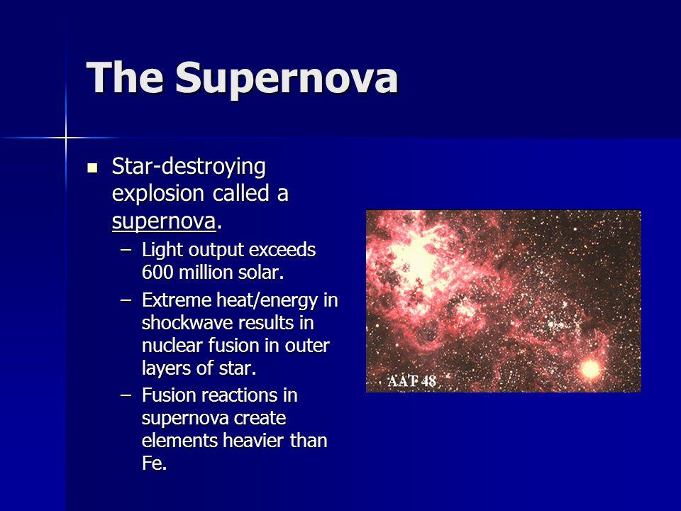 The Supernova Star-destroying explosion called a supernova.