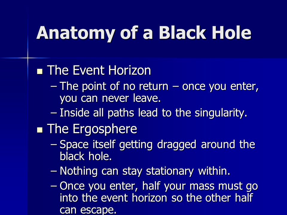 Anatomy of a Black Hole The Event Horizon The Ergosphere