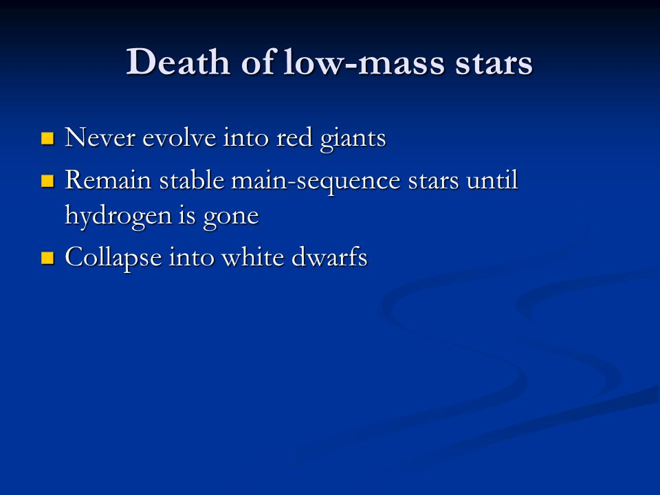 Death of low-mass stars