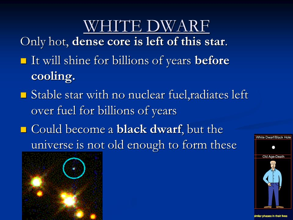 WHITE DWARF Only hot, dense core is left of this star.