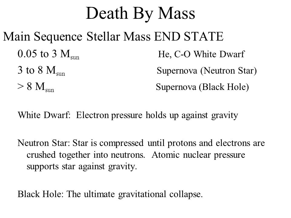 Death By Mass Main Sequence Stellar Mass END STATE