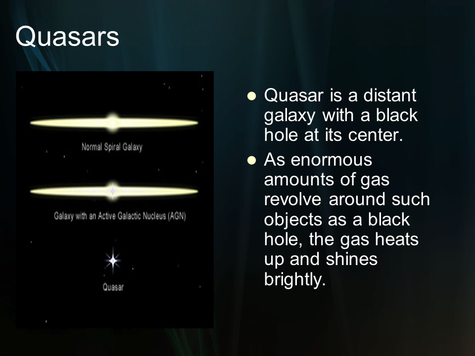 Quasars Quasar is a distant galaxy with a black hole at its center.