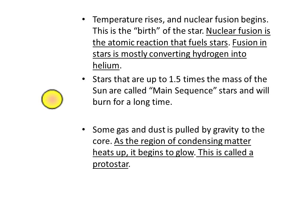 Temperature rises, and nuclear fusion begins