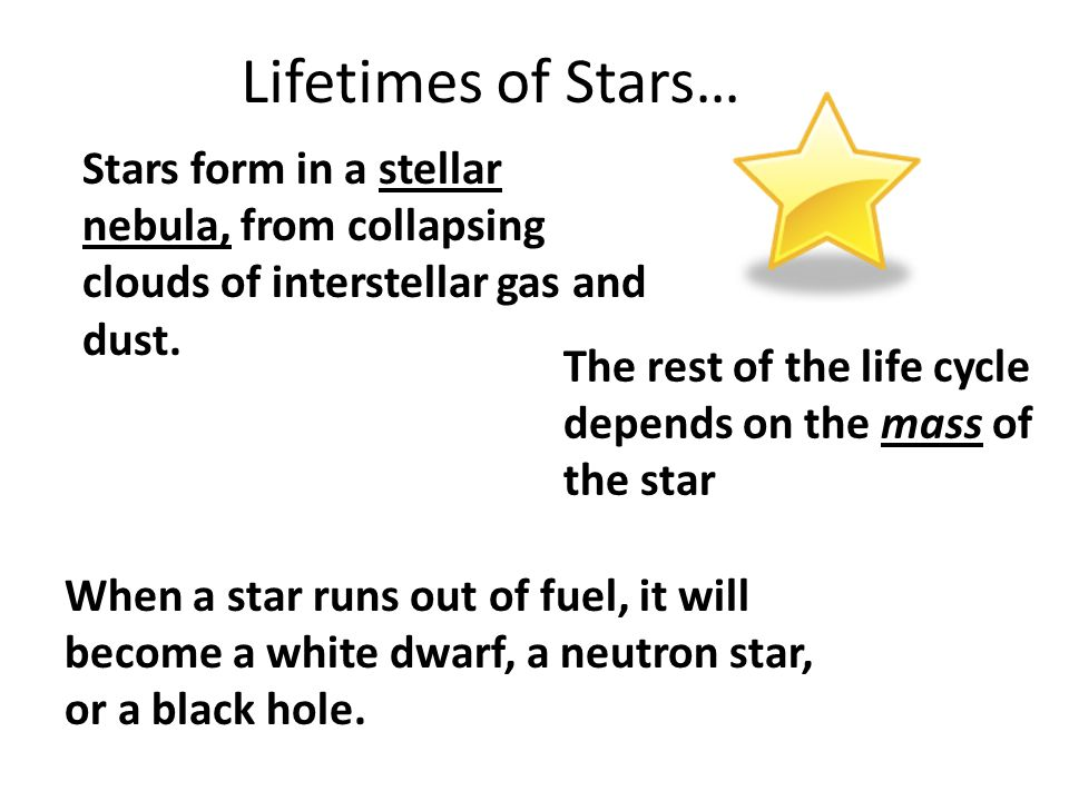 Lifetimes of Stars… Stars form in a stellar nebula, from collapsing clouds of interstellar gas and dust.