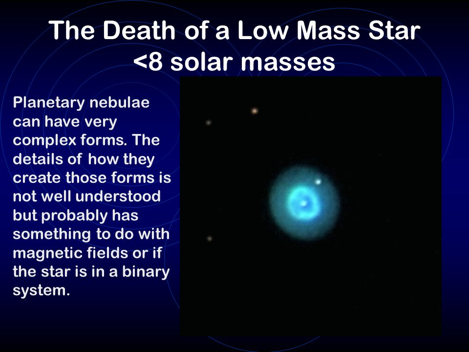 The Death of a Low Mass Star <8 solar masses