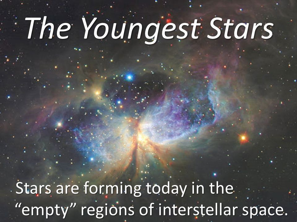 The Youngest Stars Stars are forming today in the empty regions of interstellar space.