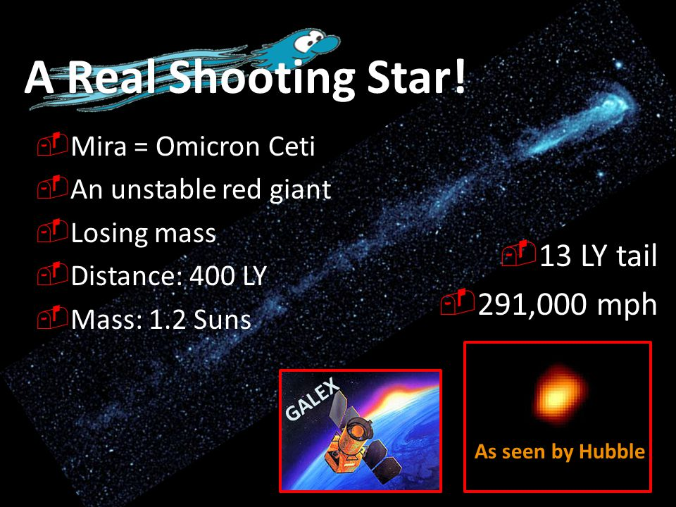 A Real Shooting Star! 13 LY tail 291,000 mph Mira = Omicron Ceti