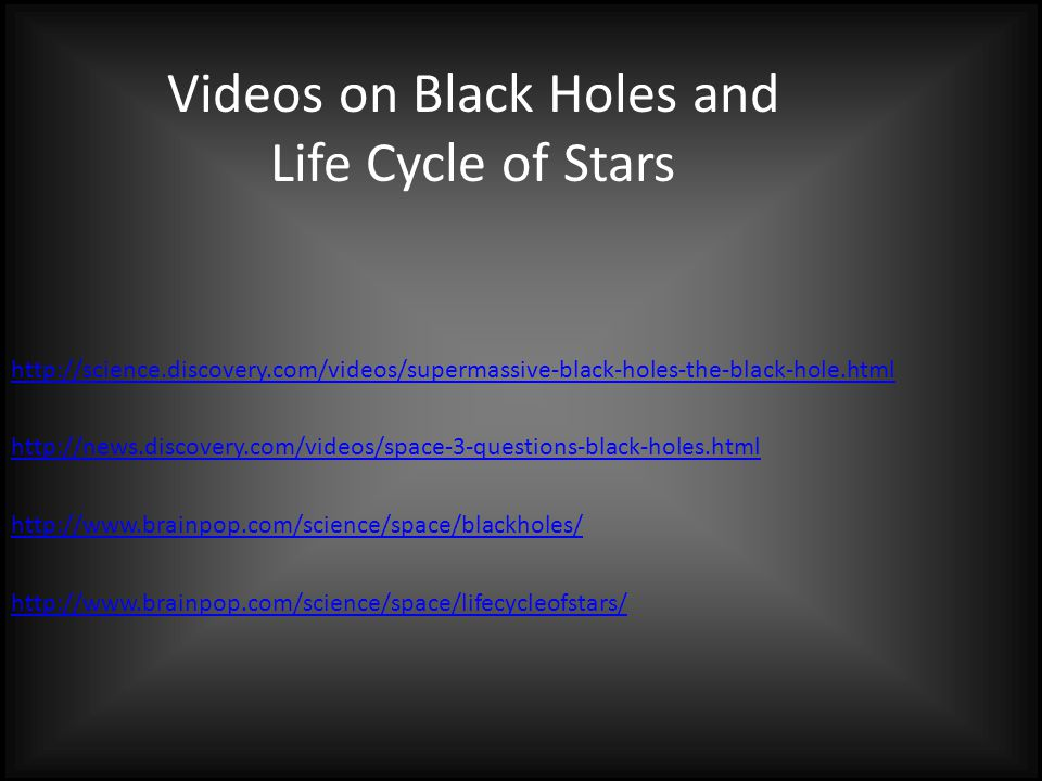 Videos on Black Holes and Life Cycle of Stars