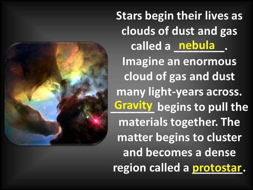 Stars begin their lives as clouds of dust and gas called a ________