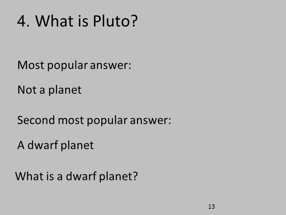 4. What is Pluto Most popular answer: Not a planet