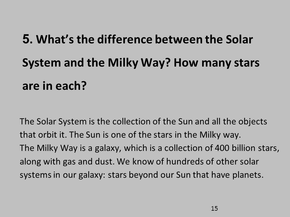5. What's the difference between the Solar System and the Milky Way