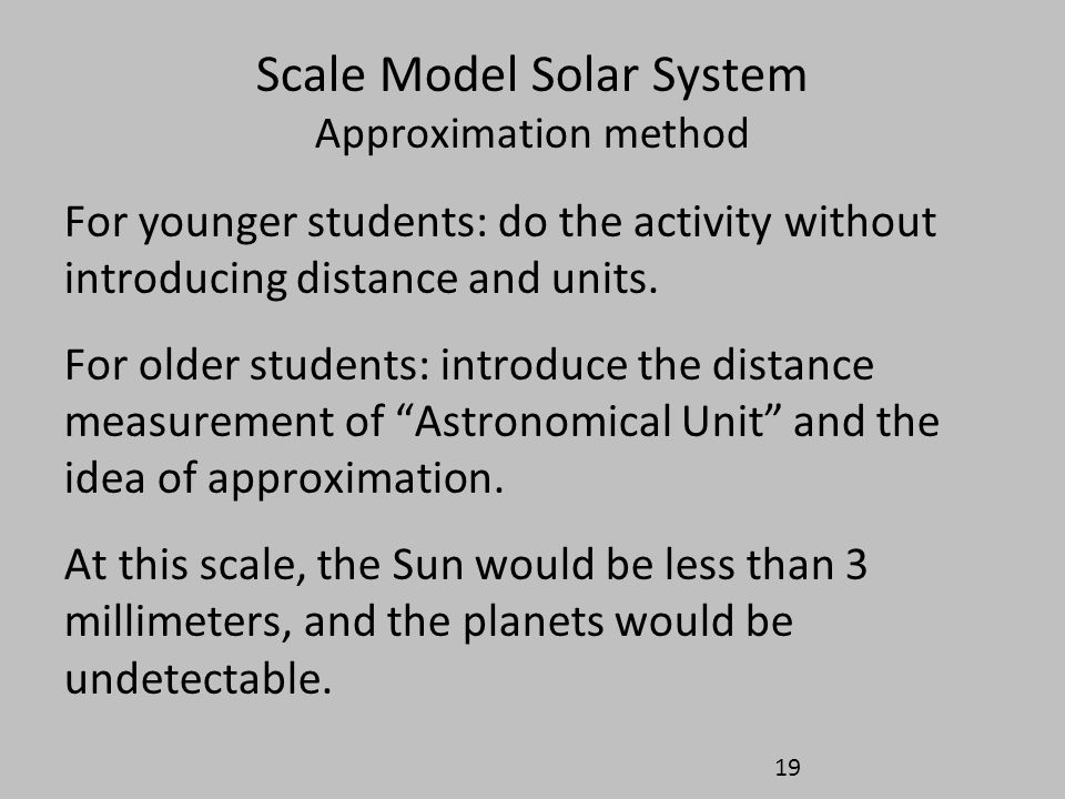 Scale Model Solar System Approximation method