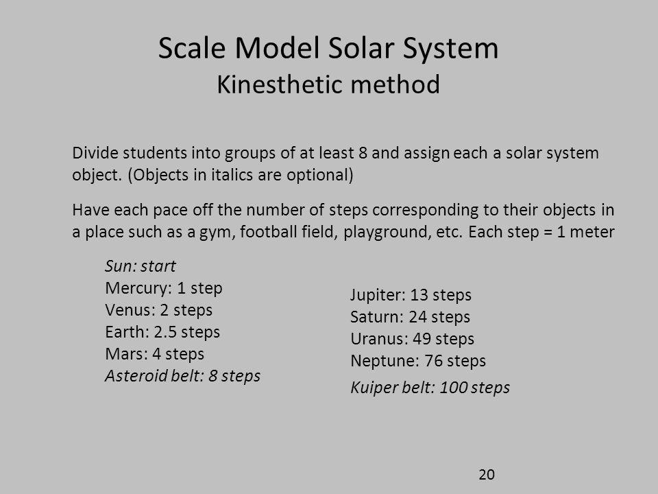 Scale Model Solar System Kinesthetic method