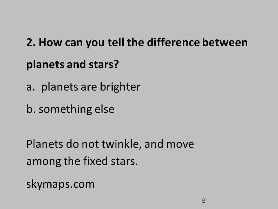Planets do not twinkle, and move among the fixed stars.