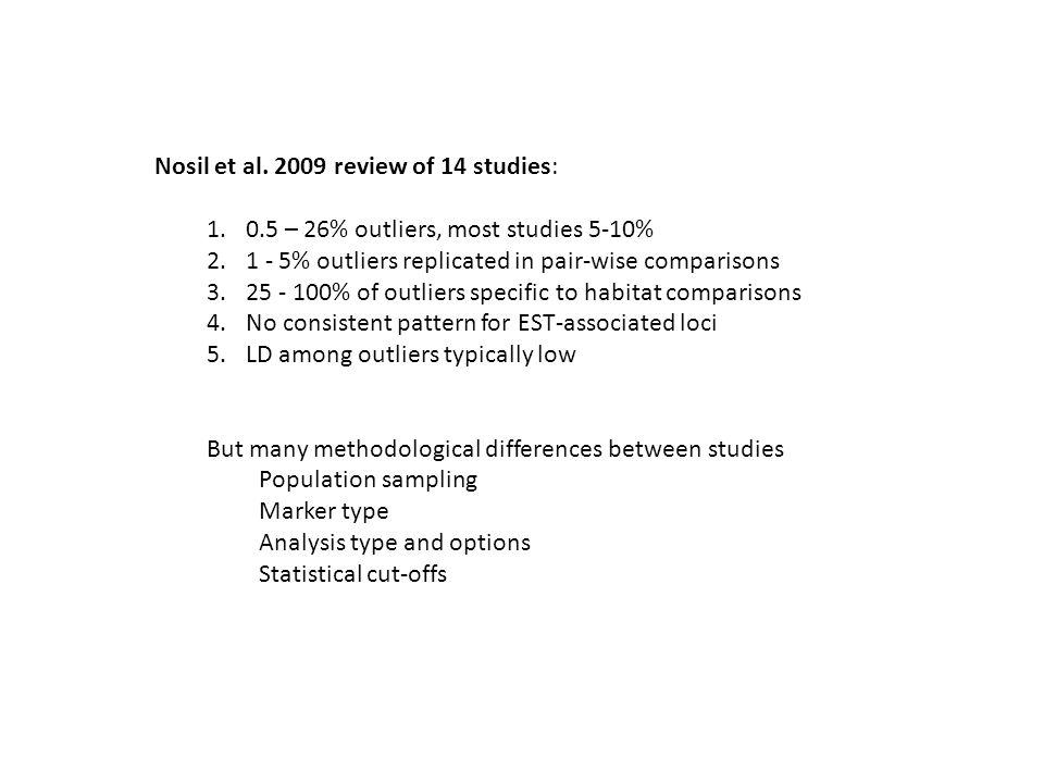 Nosil et al. 2009 review of 14 studies: