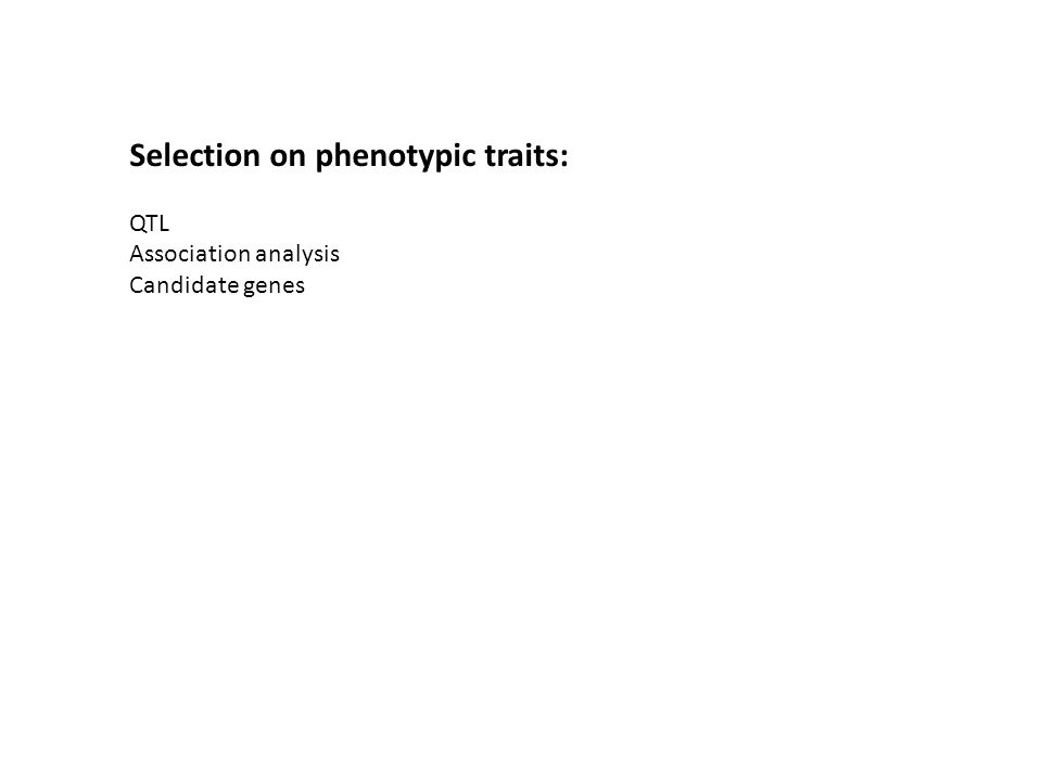 Selection on phenotypic traits: