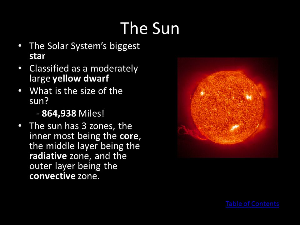 The Sun The Solar System's biggest star