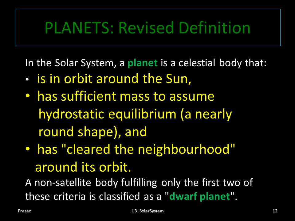 PLANETS: Revised Definition