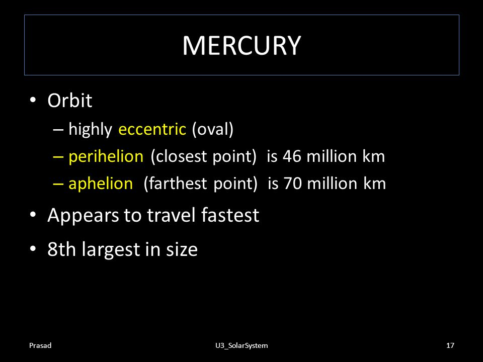 MERCURY Orbit Appears to travel fastest 8th largest in size