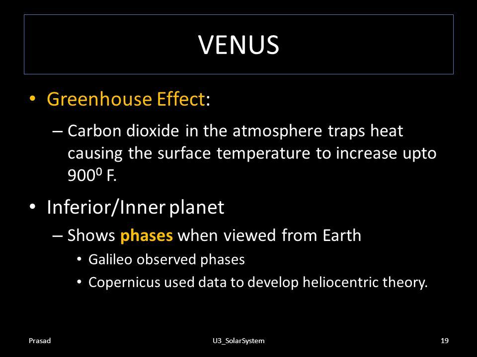 VENUS Greenhouse Effect: Inferior/Inner planet