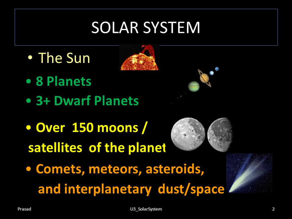 SOLAR SYSTEM The Sun 8 Planets 3+ Dwarf Planets Over 150 moons /
