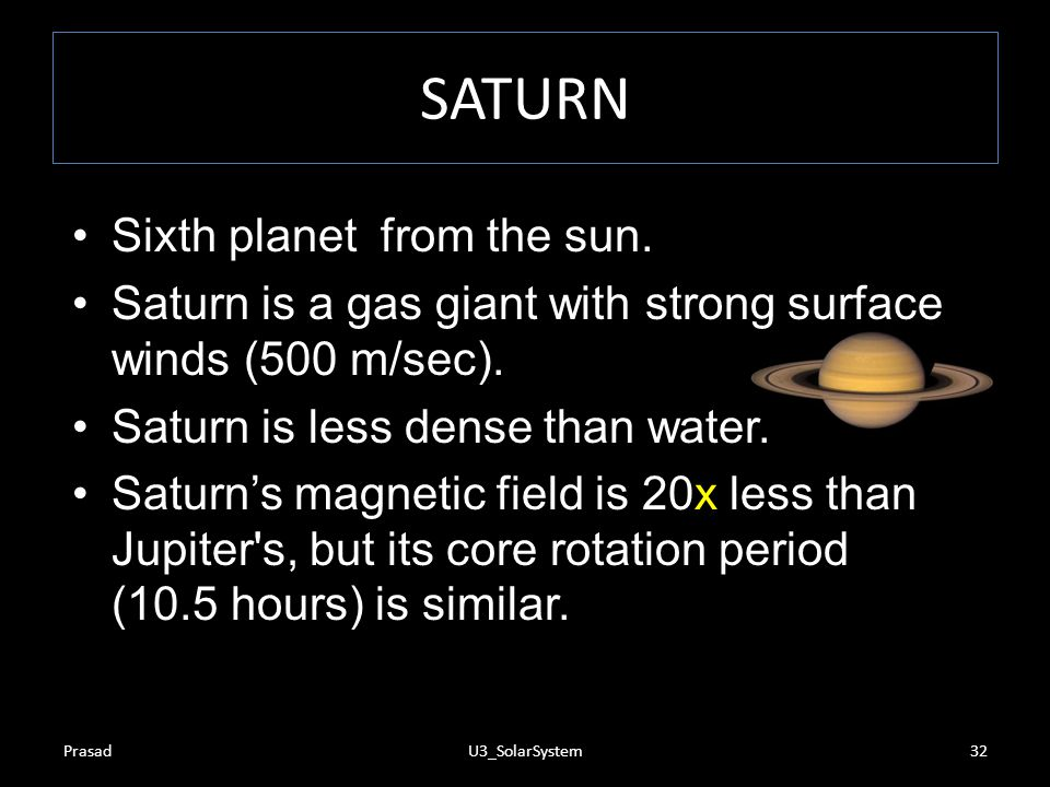 SATURN Sixth planet from the sun.