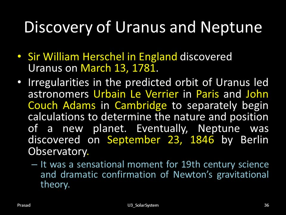Discovery of Uranus and Neptune