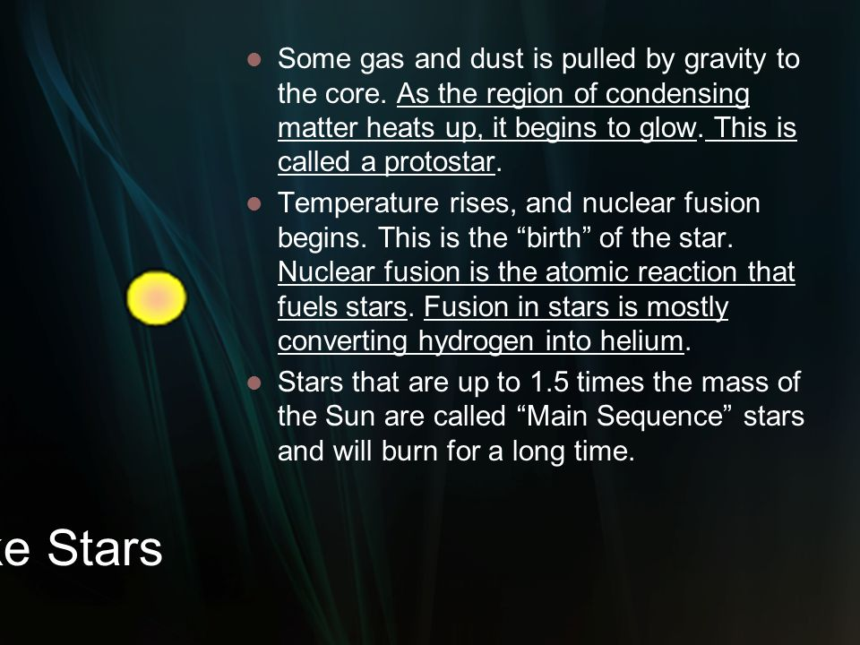 Some gas and dust is pulled by gravity to the core