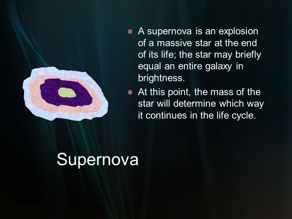 A supernova is an explosion of a massive star at the end of its life; the star may briefly equal an entire galaxy in brightness.