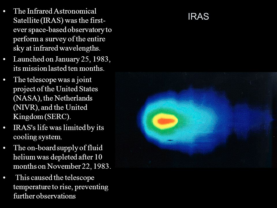 The Infrared Astronomical Satellite (IRAS) was the first-ever space-based observatory to perform a survey of the entire sky at infrared wavelengths.