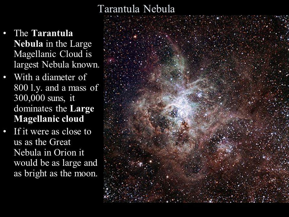 Tarantula Nebula The Tarantula Nebula in the Large Magellanic Cloud is largest Nebula known.