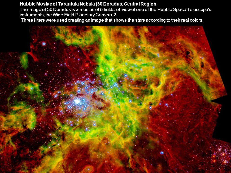 Hubble Mosiac of Tarantula Nebula (30 Doradus, Central Region The image of 30 Doradus is a mosiac of 5 fields-of-view of one of the Hubble Space Telescope s instruments, the Wide Field Planetary Camera-2.