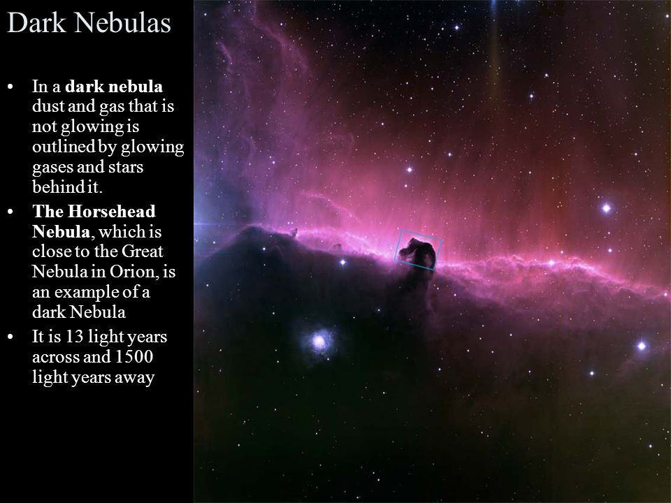 Dark Nebulas In a dark nebula dust and gas that is not glowing is outlined by glowing gases and stars behind it.