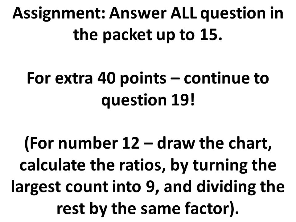 Assignment: Answer ALL question in the packet up to 15.