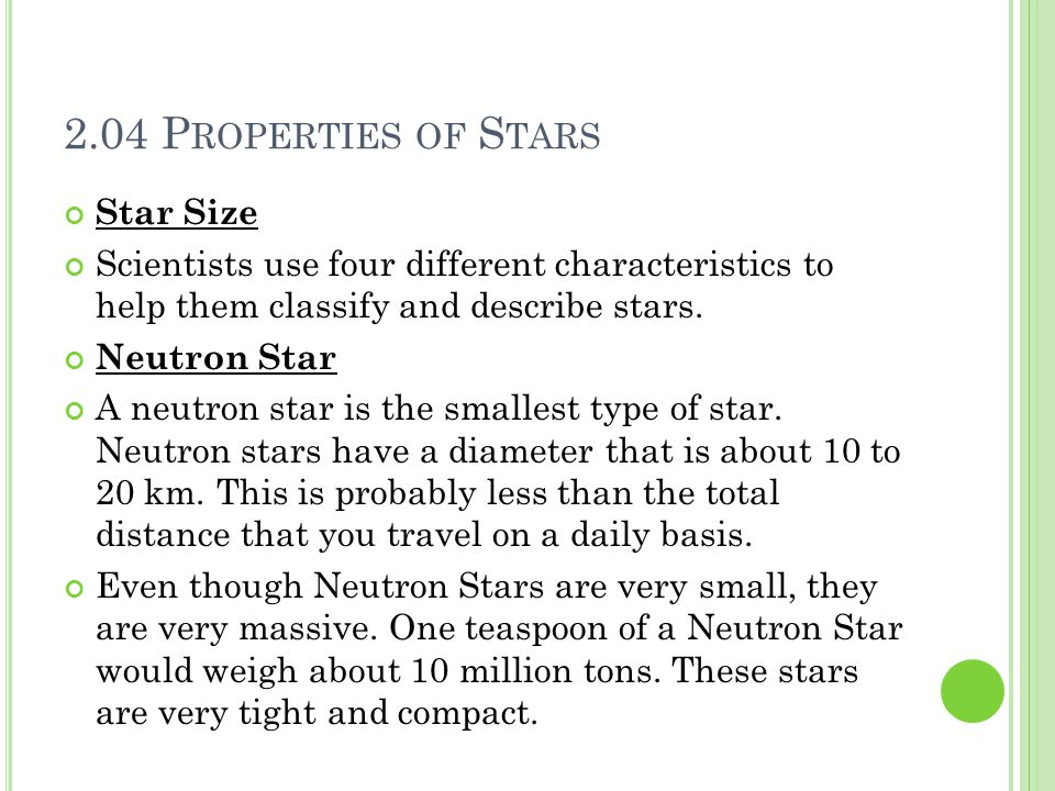 2.04 Properties of Stars Star Size