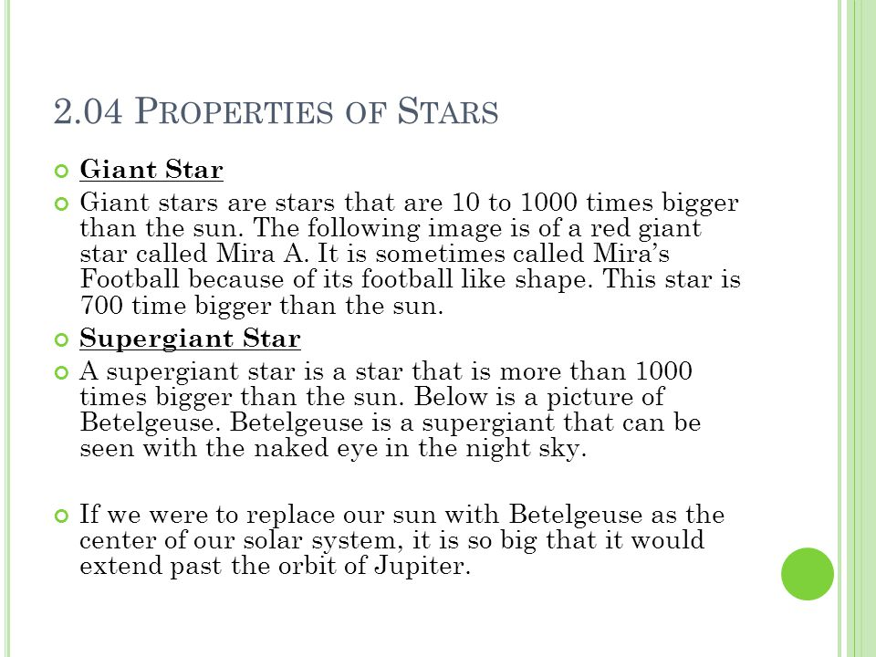 2.04 Properties of Stars Giant Star