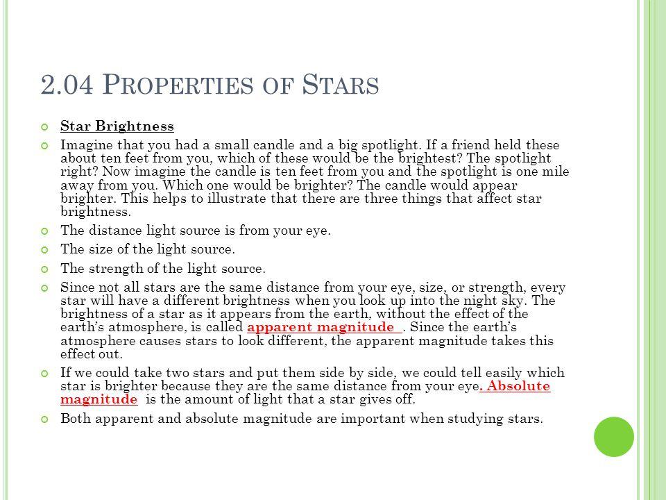 2.04 Properties of Stars Star Brightness
