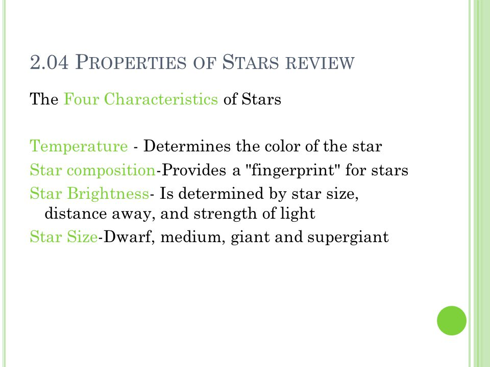 2.04 Properties of Stars review