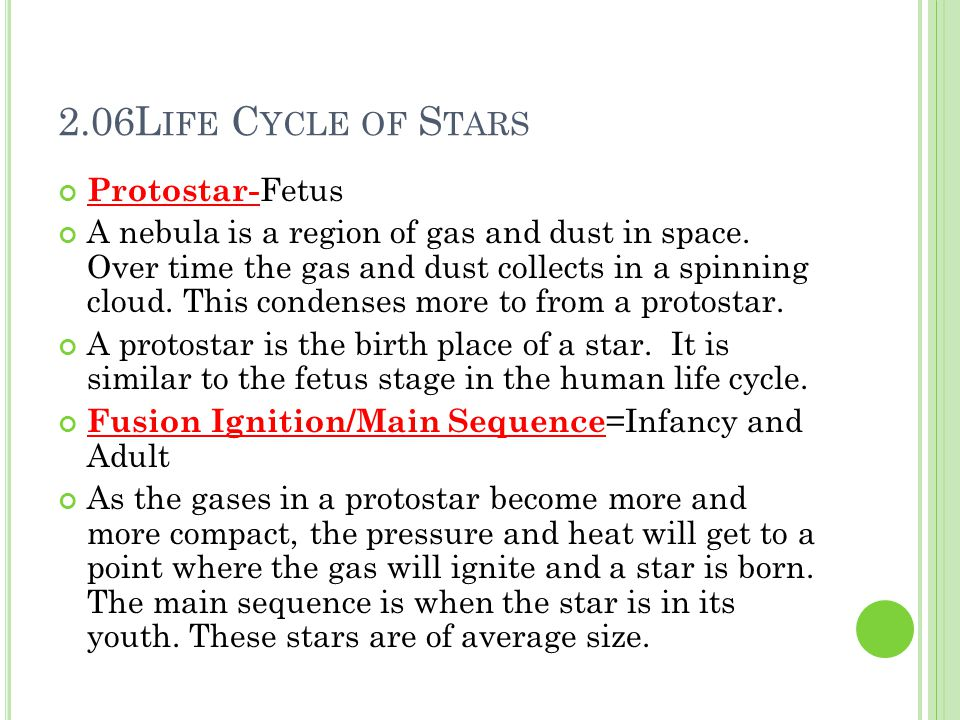 2.06Life Cycle of Stars Protostar-Fetus