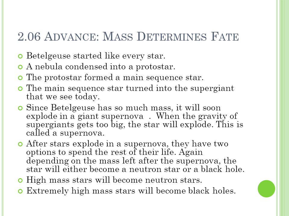 2.06 Advance: Mass Determines Fate