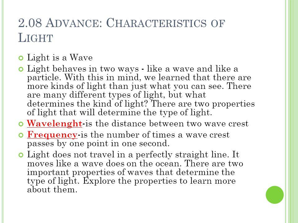 2.08 Advance: Characteristics of Light