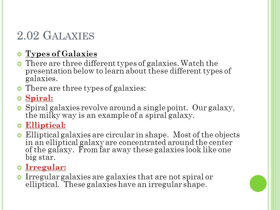 2.02 Galaxies Types of Galaxies