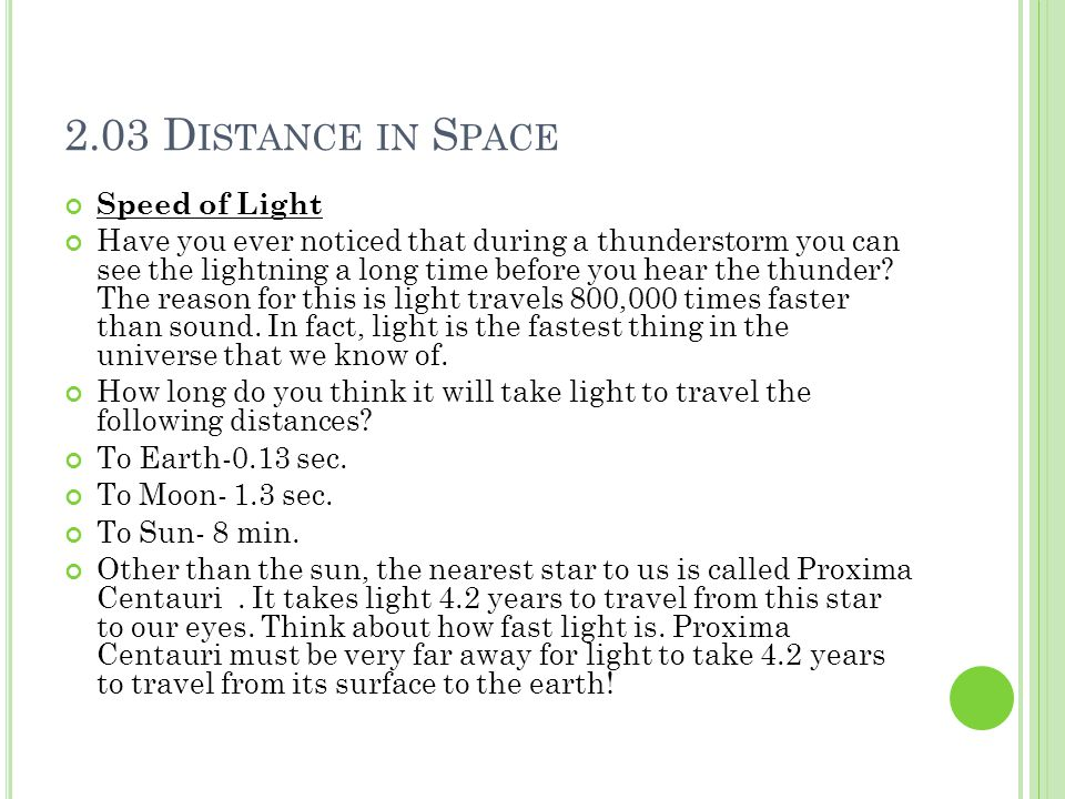 2.03 Distance in Space Speed of Light