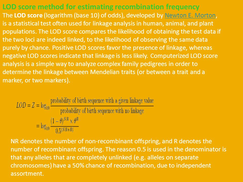 LOD score method for estimating recombination frequency
