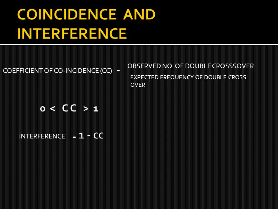 COINCIDENCE AND INTERFERENCE
